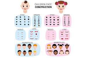 Child face constructor vector kids character of girl or boy avatar creation head lips nose and eyes illustration set of facial elements construction with children hairstyle isolated on background