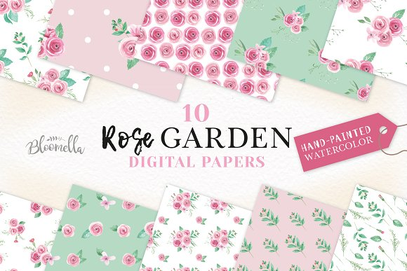 Pink Rose Watercolor Patterns Floral