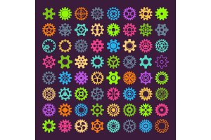 Gear vector mechanism icons isolated illustration. Mechanics web development shape work cog multicolor gear sign. Engine wheel equipment machinery element. Circle turning technical tool