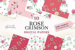 Rose Pattern Watercolor Red Pink Set