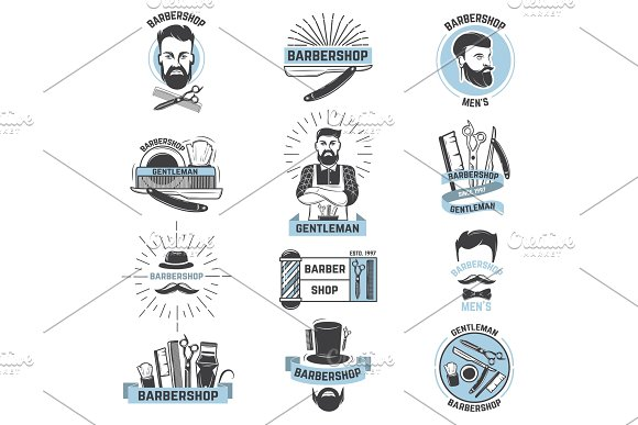 Barbershop Logo Vector Barber Cuts Male Haircut And Barbed Mustache Of Bearded Man With Razor In Hipster Salon On Logotype Illustration Set Isolated On White Background