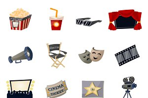 Cinema icons flat set