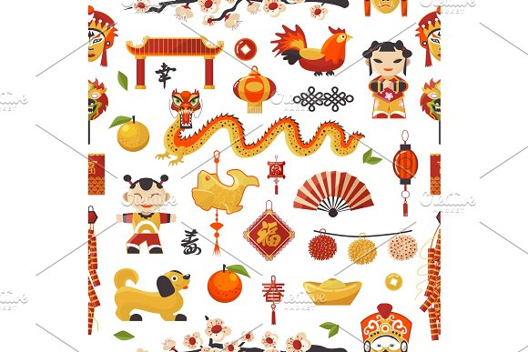 China New Year vector icons set decorative holiday. Chinese traditional symbols and objects dragon, dog, lighter and famous oriental culture chinese New Year celebration seamless pattern background