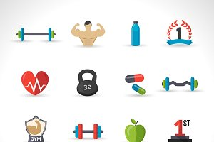 Bodybuilding icons flat set