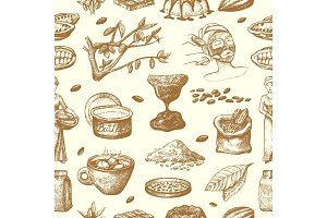 Vector cocoa products hand drawn sketch. Doodle food chocolate sweet cacao illustration. Vintage style plant natural bean ingredient. Organic cacao seamless pattern background