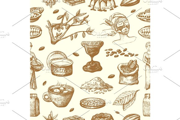 Vector Cocoa Products Hand Drawn Sketch Doodle Food Chocolate Sweet Cacao Illustration Vintage Style Plant Natural Bean Ingredient Organic Cacao Seamless Pattern Background