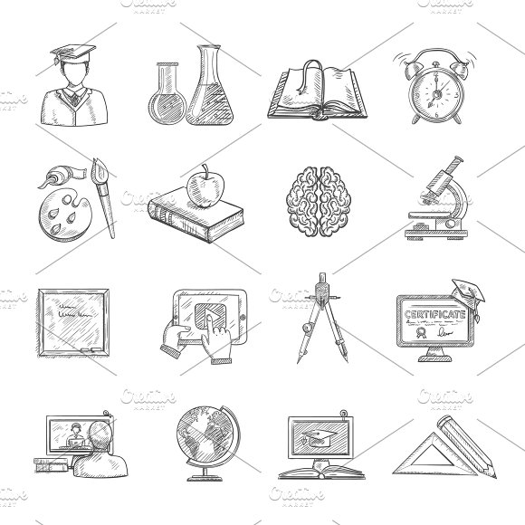 Education Icons Sketch Set