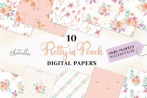 Peach Patterns Floral Digital Papers