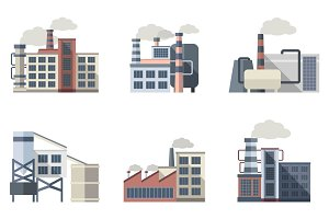 Industrial building flat icons set