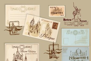 Vintage postcards template set