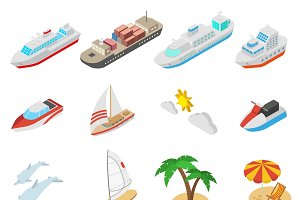 Ships and beach vacation icons