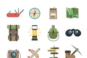 Hiking flat icons set