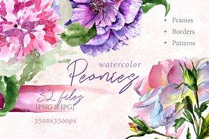 Elegant peony PNG watercolor flower