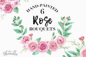 Pink Rose Bouquet Watercolor Set