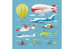 Plane vector aircraft or airplane and jet flight transportation and helicopter in sky illustration aviation set of aeroplane or airliner and airfreighter cargo isolated on background