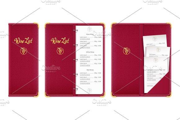 Red Covered Wine List Bar Menu Book
