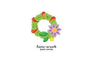 vector illustration. Easter wreath