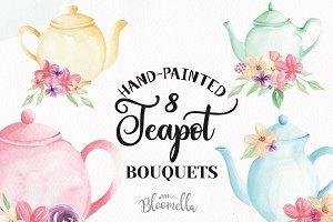 Watercolor Floral Teapot Wonderland