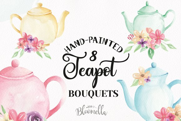 Watercolor Floral Teapot Wonderland