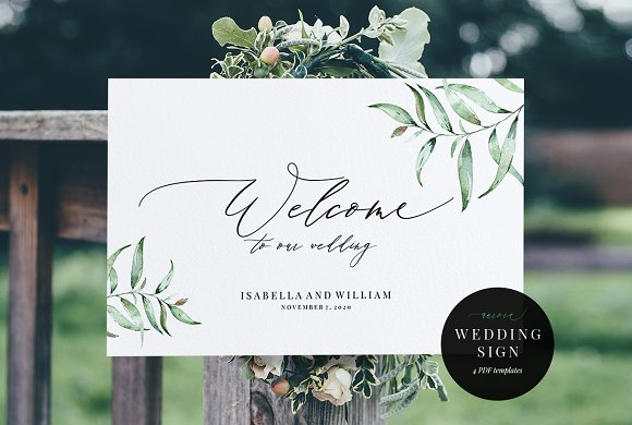 welcome wedding sign aurora invitation templates creative market