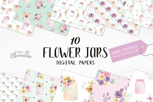 Flower Jar Watercolor Patterns Set