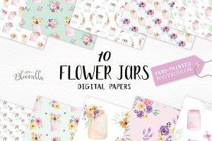 Flower Jar Watercolor Patterns Set