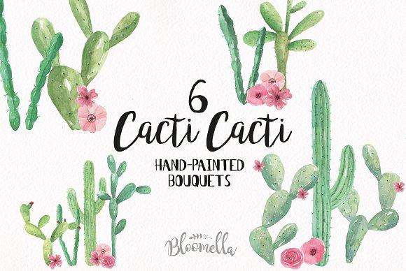 Cacti Bouquets Watercolor Cactus Set