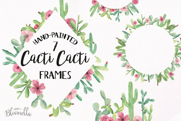Cacti Watercolor Frames Cactus Set