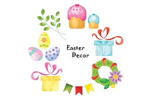 Easter decorations set vector color