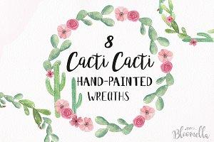 Cacti Watercolor Wreath Cactus Pink