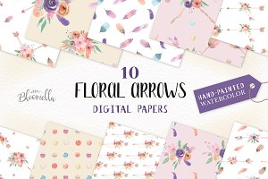 Floral Arrows Watercolor Patterns