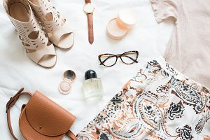 Feminine flat lay, fashion bloggers
