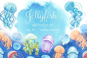 Jellyfish (PNG+seamless patterns)