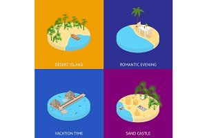 Beach Vacation Banner Card Set
