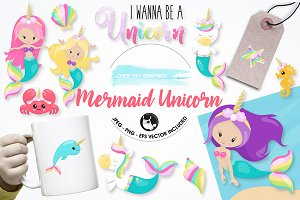 Mermaid unicorn graphic illustration