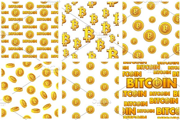 collection seamless Patterns Gold Bitcoin coins on white background . Vector Digital internet currency in Textures