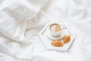 Early morning breakfast in bed, coff
