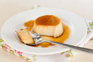 Dessert creme caramel in a dish pour