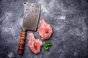Raw meat and butchers knife