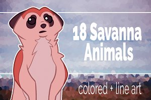 18 Savanna Animals clip art set