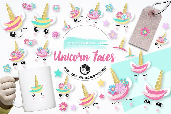 Unicorn Faces Graphics Illustration