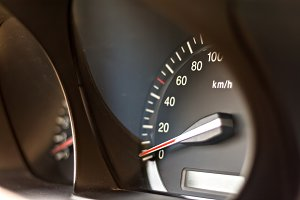 car speedometer in perspective close