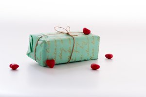 Turquoise box. Gift box. Gift box on white.