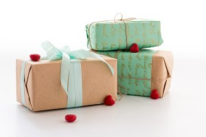 Craft boxes with gifts. Gifts and hearts.