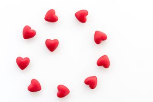 Circle of hearts. Circle of love. Heart on a white background.