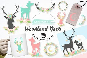 Woodland deer graphics illustrations