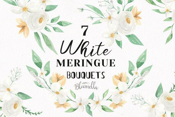 White Floral Bouquet Flower Set