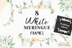 White Flower Frames Watercolor Set