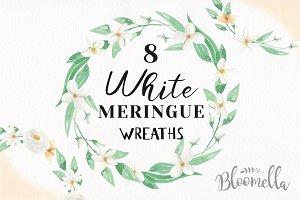 Watercolor White Flower Wreath Set
