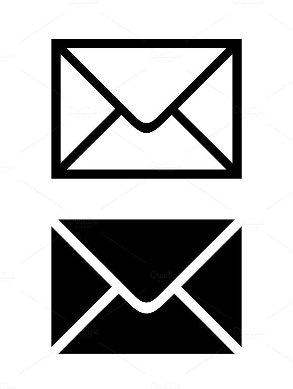 Envelope Sign Isolated On White White And Black Mail Icon Illustration